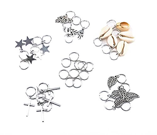 (yueton 35pcs Silver Ring Shell Hands Cross Leaves Star Pendant Rings Set Hair Clip Headband Hair Accessories)