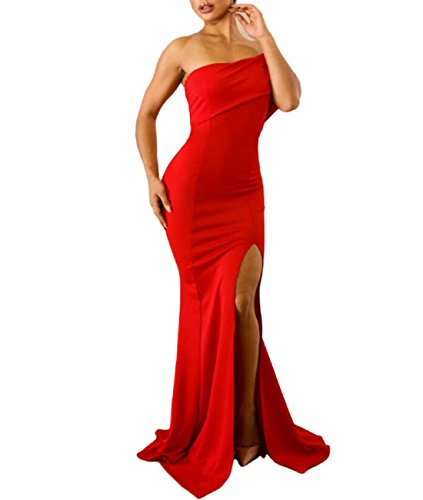 MuCoo Women's Sexy Off The Shoulder One Sleeve Slit Evening Gown Party Prom Dresses Red M (Prom Slim Gown)