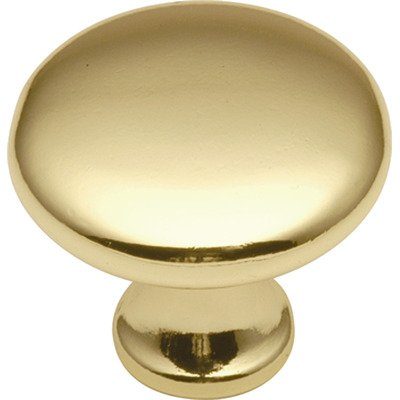 Conquest Mushroom Knob Finish: Polished Brass (Cabinet Conquest)