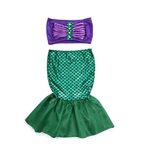 Rush Dance Princess Ariel The Little Mermaid Dress Costume Cosplay Swimwear (2T, Little (Ariel Cosplay Dress)