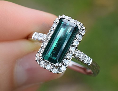 Natural Blue Green Brazil Tourmaline Diamond Ring 2.54 cttw (VS-SI/GH) Cocktail Ring 14K White Gold Size (Brazilian Alexandrite)