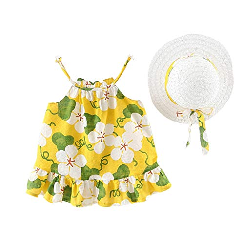 MALLOOM Baby Girls Floral Dot Ruched Strap Princess Dress Casual Clothes+Hat Yellow