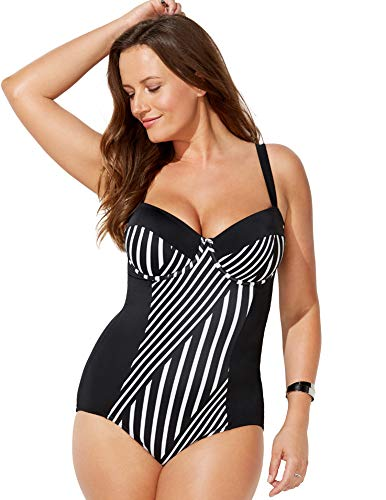 520e44d2cfb18 Swimsuits for All Women's Plus Size Striped Black White Underwire One Piece  Swimsuit