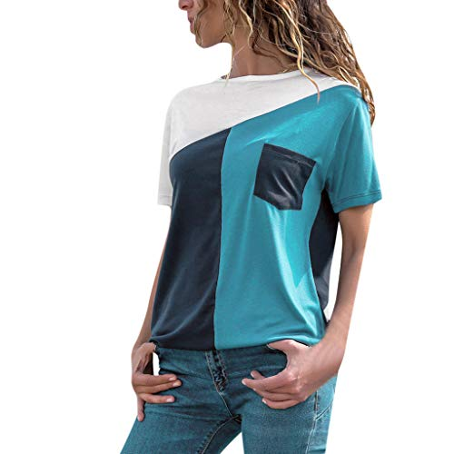 Clearance! Womens Casual O-neck Pullover Blouse, Ladies Short Sleeve Splice Patchwork Color Tee T-Shirt Tops S-2XL (Blue, ()