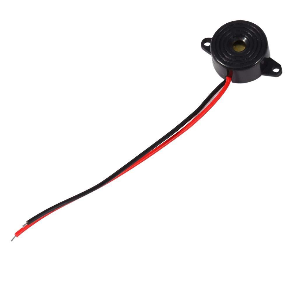 Mugast Buzzer Beeper 3-24V Piezo Electronic Son Buzzer Alarme Bip Alarme Tonalit/é Continue Longueur du c/âble 100mm Imp/édance /Égaliseur Sonnerie Sound Buzzer