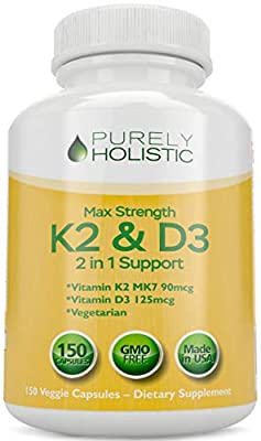 Vitamin D3 5000IU with K2 (MK7), Great Value 150 Vegetarian Vitamin D3 K Capsules, Easy to Swallow Vitamin D and K Supplement, Non GMO Vitamin D & K Complex