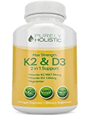Vitamin D3 5000IU with K2 (MK7), Great Value 150 Vitamin D3 K Capsules, Easy to Swallow Vitamin D and K Supplement, Non GMO Vitamin D & K Complex