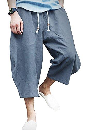 KAMUON Mens Casual Baggy Cotton Linen Pocket Lounge Harem Pants Beach Long Shorts (US M = Asian Tag 2XL : Waist 33