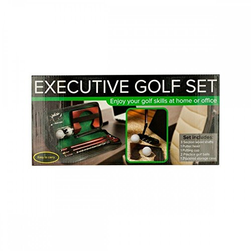Kole Imports Executive Portable Golf Set, Black, Brown, Green, - Executive Putting Cup