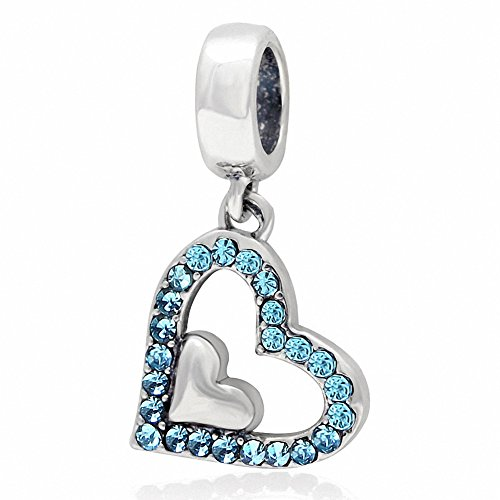 March Birthstone Charm - ABUN Sparkly Crystal Heart Charms 925 Sterling Silver Heart in Heart Birthstone Charm for Euroepan Bracelet (Aquamarrine March Stone)