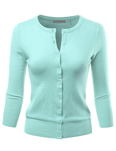 LALABEE Women's 3/4 Sleeve Crewneck Button Down Knit Sweater Cardigan Iceblue ()