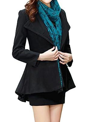GRAPENT Women's Long Sleeve Slim Fit Peplum Lapel Asymmetrical Hem Blazer Jacekt