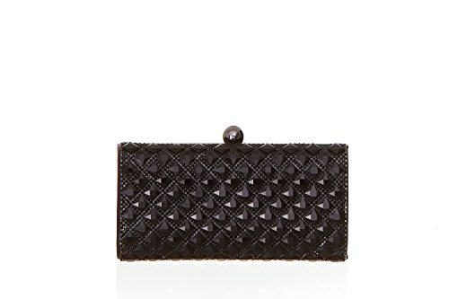 Women's Diamond Jewel and Round Crystal Embellished Evening Clutch Handbag with Top Clasp -