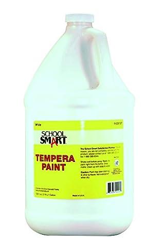 School Smart 1439197 Multi-Purpose Liquid Tempera Paint, 1 gal Plastic Bottle, White (White Paint Tempera)