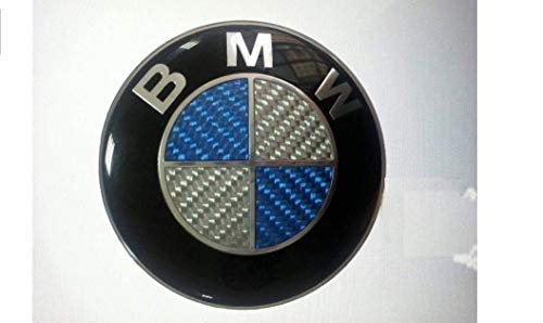 (Keep Real BMW Carbon Emblem 74mm Hood/Trunk Logo Replacement 2pin for ALL Models BMW LOGO DECAL E30 E36 E46 E34 E39 E60 E65 E38 X3 X5 X6 3 4 5 6 7 8 Series (74MM, Carbon))