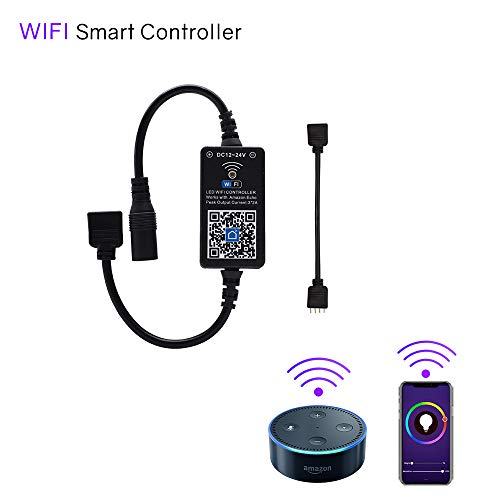 HitLights WiFi Wireless LED Controller, Alexa LED Strip Magic Home Controller - Compatible Google Home IFTTT, Working with BRG GRB 5 - 24V LED Strip Lights