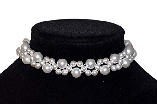 (Swarovski Crystal White Pearl Collar Choker Necklace For Women 925 Sterling Silver Clasp.)