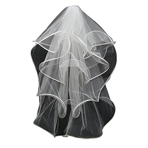 Vweil Short Ruffled Tulle Bridal Wedding Veils Mantilla and Catholic Veils For Women
