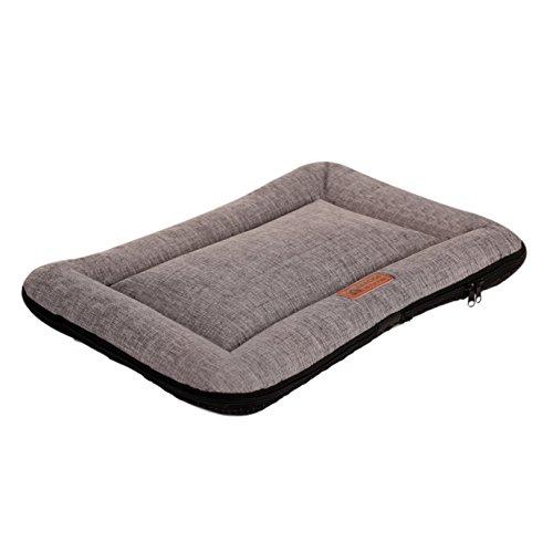 QIAOQI Dog Mattress, Soft Dog/Cat Crate Bed Kennel Mat Machine Washable Pet Bed Liner Medium Grey by QIAOQI