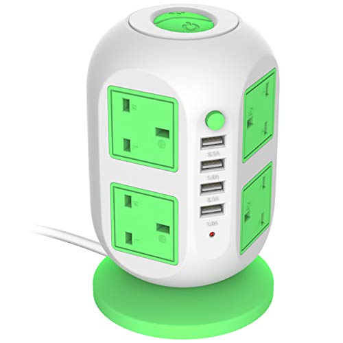 USB Power Strip LECTCAFE Surge Protector Tower Power Socket Outlets, Vertical Multi-Socket with 8 Outlets and 4 USB Ports Universal Charging Station for Home and Office(Green)