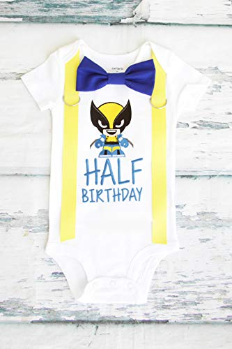 Boy 6 Months birthday Outfit half birthday Logan a wolverine Outfit birthday boy 1/2 minions Jerry half birthday outfit birthday family shirts]()