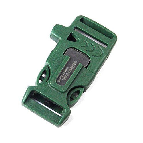 Whistle-Buckle-WOVTE-18-x-075-Inch-Whistle-Buckles-with-Flint-Fire-Starter-and-Striker-for-Paracord-Bracelet-Army-Green-Pack-of-10