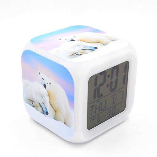 BoFy Led Alarm Clock White Polar Bear Personality Creative Noiseless Multi-Functional Electronic Desk Table Digital Alarm Clock for Unisex Adults Kids Toy Gift