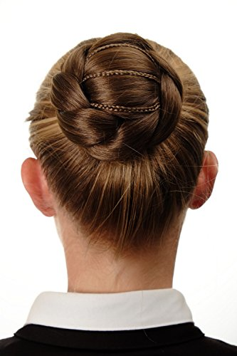 WIG ME UP - Dutt Haarknoten Haarteil aufwendig geflochten verspielt Tracht Steck-Kamm Haarnadel Braun Goldbraun N672-12