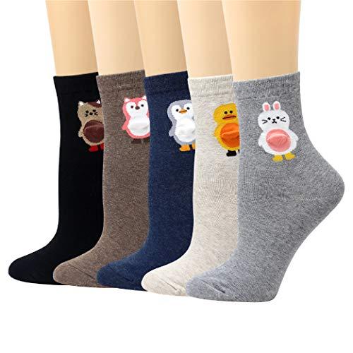 (LIVEBEAR 4/5 Pairs Womens Cute Characters, Novelty, Casual Cotton Crew Socks Made In Korea (Tummy))