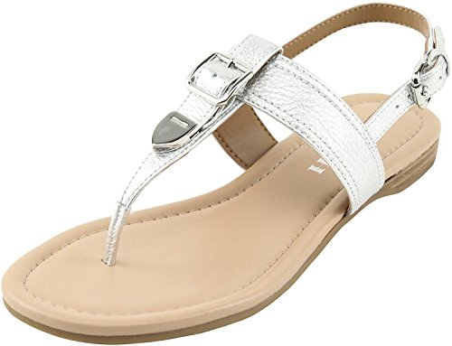 Coach Womens Cassidy Split Toe Casual T-Strap Sandals, Silver, Size 5.5