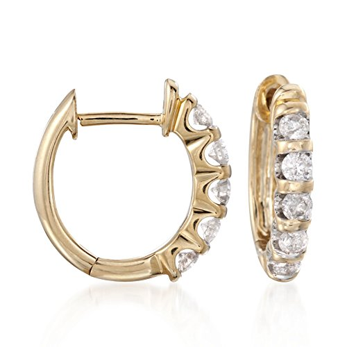 Ross-Simons 0.50 ct. t.w. Diamond Huggie Hoop Earrings in 14kt Yellow Gold ()