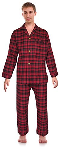ar Men's 100% Cotton Flannel Pajama Set, Size XX-Large Tall Red ()