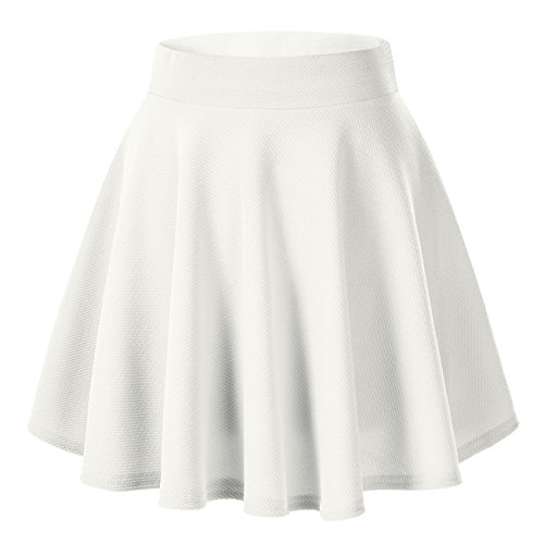 (Urban CoCo Women's Basic Versatile Stretchy Flared Casual Mini Skater Skirt (Small, White))