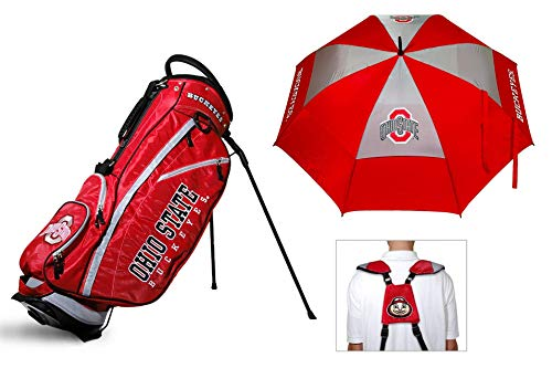 State Golf Stand - Team Golf Ohio State Buckeyes NCAA Bag & Umbrella Bundle | Includes Fairway Golf Stand Bag, 62