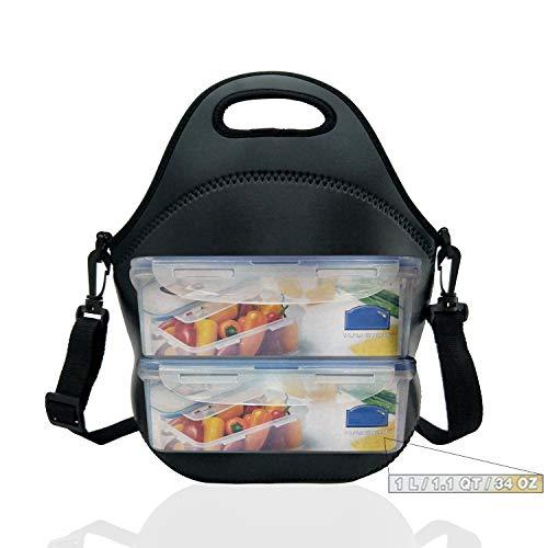 Neoprene Insulated Lunch bag, Lunch tote Boxes Bags for Kids Women Men Kids Children Work Office School Picnic Travel (Black)