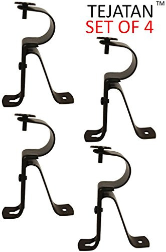 - Curtain Rod Brackets - Black (Set of 4) -Adjustable (Also known as - Curtain rod Holder / Bracket for Drapery rod / Window Drapery rod bracket set for Draperies / adjustable curtain rod brackets)