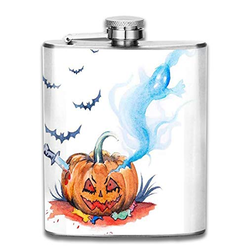 Stainless Steel Flask Watercolor Painting Halloween Evil Smiling Whiskey Flask Vodka Portable Pocket Bottle Camping Wine Bottle 7oz Suitable For Men And Women