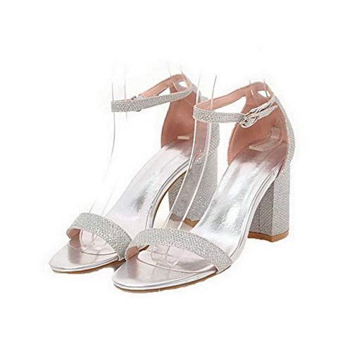 Toe Silver Heels Frosted VogueZone009 Buckle Open High Women CCALP015530 Sandals Solid qgwtv