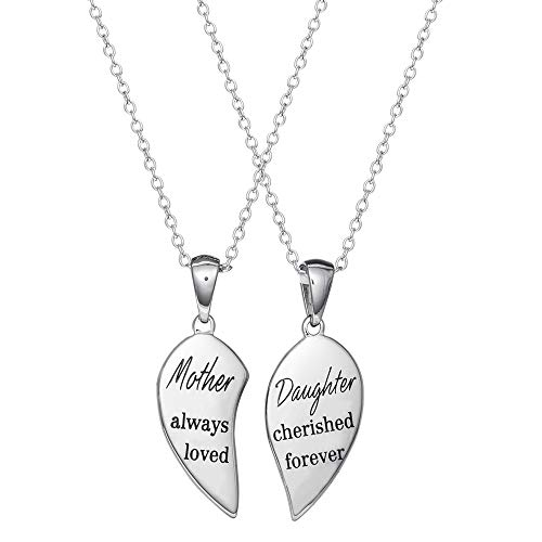 Connections from Hallmark Mother and Daughter Stainless Steel Heart Necklace Set, 18