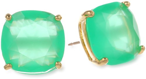 kate spade new york Small Square Beryl Green Stud Earrings (M Necklace Kate Spade)