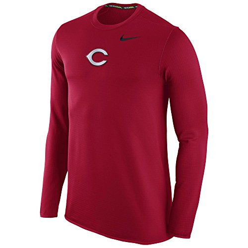 Nike Cincinnati Reds MLB Logo Waffle Pullover Fleece Crew Sweatshirt (Large)