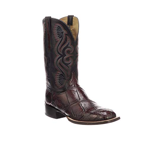 Lucchese Mens Roy Black Cherry/Black Giant Gator Leather Horseman Western Boots - Square Toe (CL1071.WF) (Lucchese Boots Alligator)