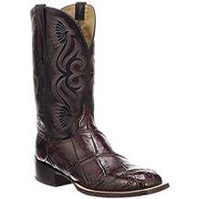 Lucchese Men's Roy Black Cherry/Black Giant Gator Horseman Boots - Square Toe - 10/D (CL1071.WF)