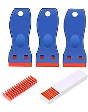 Laicky 3 Pack Plastic Razor Blade Scrapers + 100 Pack Plastic Vervanging Blades Stickers Decals Verf Labels Schraper Removal Tool voor Auto Window Glas Tint Vinyl Tool GEEN Gekrast