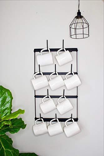 Claimed Corner Mini Wall Mounted Mug Rack - 4 Row Metal Storage Display Organizer For Coffee Mugs, Tea Cups, Mason Jars, and More. by Claimed Corner (Image #2)