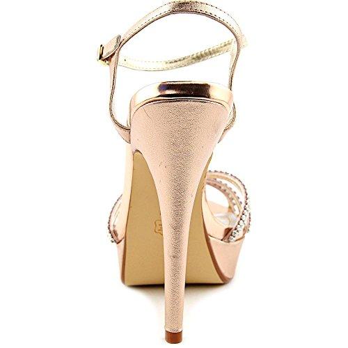 Caparros Womens Toe Ankle Pumps Belle Metal Strap Rose Platform Open Ba4nBrq