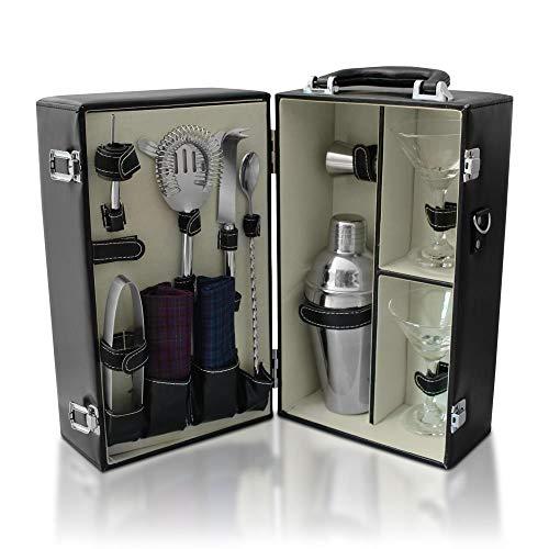 Boozebox Premium Travel Cocktail Set, Bartender Kit with Leatherette Cocktail Case ()