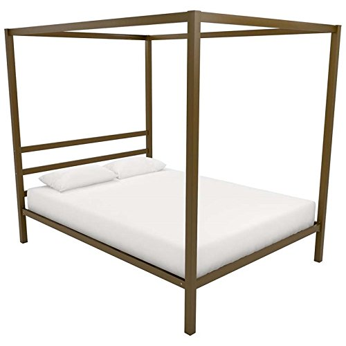 DHP Modern Canopy Bed with Built-in Headboard, Classic Design, Queen Size, Gold (Metal Queen Size Bed Canopy)