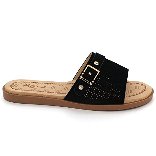 On LONDON Casual Slip Flats Everyday Wear Shoes Black Women Super Sandal AARZ Lightweight Comfort Size Ladies F10xx