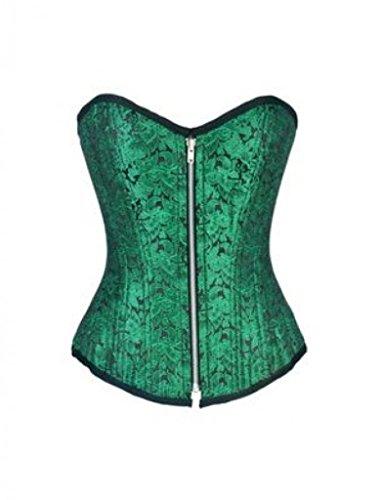 Green Brocade Double Bone Gothic Burlesque Bustier Waist Cincher Overbust Corset